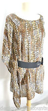 Dana Buchman Dress Long top 1 Kimono sleeve asymmetrical Jungle blouse tunic M