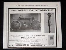 1903 OLD MAGAZINE PRINT AD, CURTISS MFG, HERCULES MOTORCYCLE, 2 1/2 H.P. MOTOR!