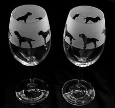 Border Terrier Dog Wine Glasses classic tulip shape..Boxed