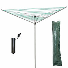 ROTARY AIRER 34M 3 ARM CLOTHES LAUNDRY DRYER DRIER OUTDOOR WASHING LINE GROUND S