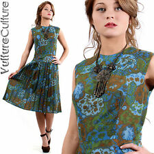RARE Vintage 50s Rockabilly Pin Up Dress Earthy Floral Full Pleated Tea Swing M