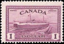 1946 Mint H Canada F Scott #273 $1.00 Train Ferry Issue Stamp