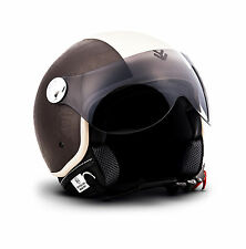 Arrow Av-84 Vintage Brown Bobber Retro Biker Casco Demi-jet Motard Urbano