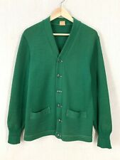 Vintage 50's Nelson Knitting Mills Green Wool Cardigan Award Sweater Sz 36