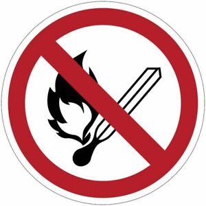 """Cartelli di divieto ISO 7010 """"Vietato fumare e usare fiamme libere"""" - P003"""