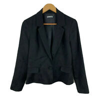 Studio W Womens Blazer Jacket Size 12 Black Long Sleeve Button Closure Collared
