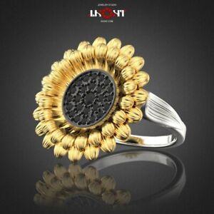 Fashion Women 925 Silver Ring Black Sapphire Sunflower Jewelry Wedding Rings Sz7