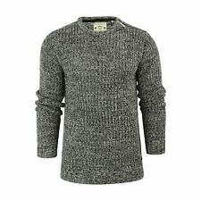 Mens Jumper Brave Soul Meteor Ribbed Knited Crew Neck Sweater With Shoulder Zip Black / Silver Grey Large