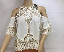 Hollister Cream Crochet Short Sleeve Shoulder Cut Out Top SZ Small