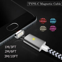 1/2/3M LED Magnetic USB-C Fast Charger Transfer Cable For Samsung S8 Note 8 Lot