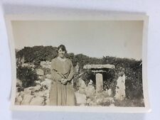 Vintage BW Real Photograph #AM: Woman Garden Rockery Bird Table