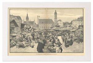 Der Viktualienmarkt in München Oberbayern Paul Hey Markt Holzstich X 135