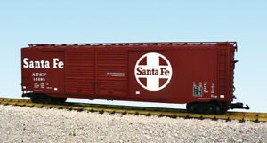 USA Trains G Scale 50 Ft Double Door Box Car R19326B Santa Fe - Mineral Brown