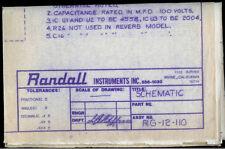 Randall Instruments RG-12-110 Guitar Amplifier Amp Original Schematic Diagram