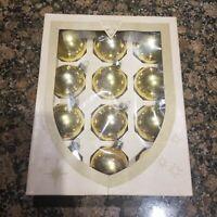 "12 Vintage Gold 2 1/4"" Diameter Glass Christmas Tree Ornaments & Box  USA"