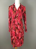 J Jill Wearever Collection Faux Wrap Dress S Stretchy Jersey Knit Red Pink Print