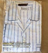 Sz XL Men's Vintage Pajamas Blue White Stripe Broadcloth Cotton Blend NIP
