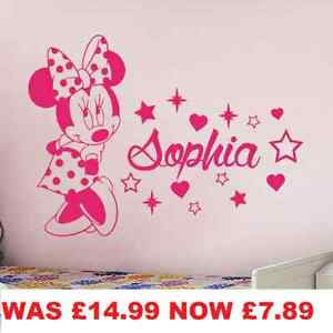 PERSONALISED MINNIE MOUSE WALL STICKERS KIDS WALL ART DECAL BEDROOM STARS