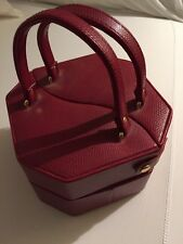 Red Hexagon Travel Jewelry Case Faux Leather Likely Bombay Co.