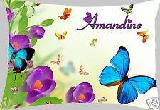 coussin rectangulaire fleurs papillon  40X28CM  REF 601 personnalisable prénom