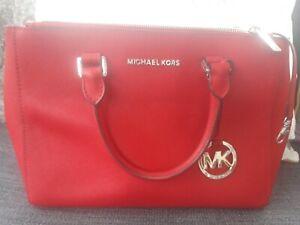 Michael Kors authentic red saffiano leather tote handbag.