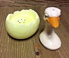 Goose Egg Salt and Pepper Shaker Gosling Hatchling Vintage Easter Collectible