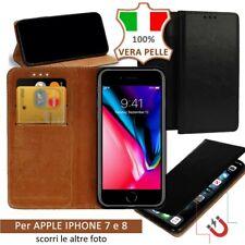CUSTODIA COVER A LIBRO FLIP MAGNETICA VERA PELLE CUOIO CARD PER APPLE IPHONE 7 8