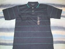 New CHESTERFIELD Worldwide Navy Blue w/ Green stripes 2 button Polo shirt Large