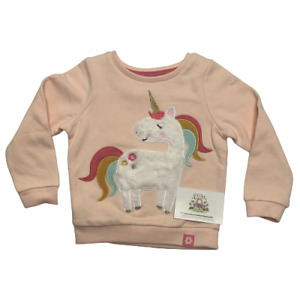 Girls Unicorn Jumper Sweater Ex Nutmeg Rainbow Pink Childrens Kids Casual Cute