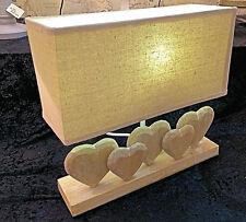 SHABBY CHIC  HEART TABLE LAMP BEIGE CREAM WOOD LINEN SHADE LIGHT RUSTIC BEDROOM