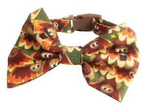 SPIFFY POOCHES Dog Collar THANKSGIVING TURKEY Fall  BOW TIE Puppy Clothes