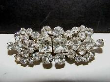 Vtg DUETTE Dress Fur Clips BROOCH WHITE Large RHINESTONES PIN Set Clip Clear