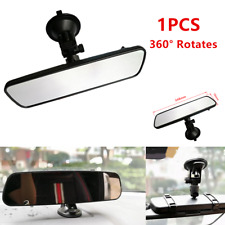 1x 360° Car SUV Truck Wide Flat Interior Rearview Mirror Suction Cup Black 248mm