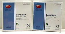 Dental Natural Rubber Dam Blue Medium 5 X 5 Sheets Latex Kit 2