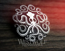Celtic Kraken Octopus Brooch/Pin - Viking/Squid/Pirate/Medieval/Sea/Silver/Cloak