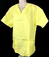 Yellow Scrub Top V Neck Womens Short Sleeve Scrub Top (Size M) New Scrubs - NWOT