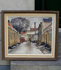 C.O. Larsson (1887) Winter cityscape with figures. Malmö, Sweden. Dated 1940