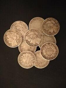 Lot de 10 monnaies en argent,1 Franc Cérès.
