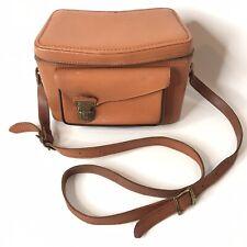Vintage Perrin Brown Leather Camera Bag The Plainsman Case Adjustable Strap USA