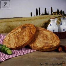 1x madera de olivo Tabla cortar hierbas, desayuno ovalado, hecho a mano 25cm