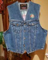1980's Vintage Wild Horse Saloon Nashville Denim Vest Embroidered Unisex Size S