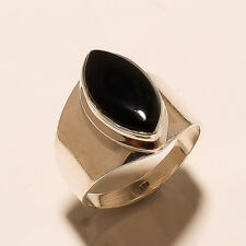 7.00 Gm Natural Black Onyx Ring 925 Solid Sterling Silver Ring Size 9.6 u-20