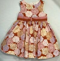 Janie and Jack Girls 6-12 Month Orange Ribbon Bow Floral Dress Patisserie Shoppe