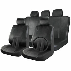 Faux Leather Full 17pc Set Solid Black Auto Car Seat Covers Wheel/Belt/Head Rest