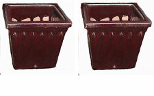 """Provincial Square Planter Oxblood Red – Set of two – 12.5"""" square by 11"""" tall"""