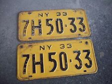 1933 New York License Plates, Pair, 7H50-33, Rat Rod, Hot Rod