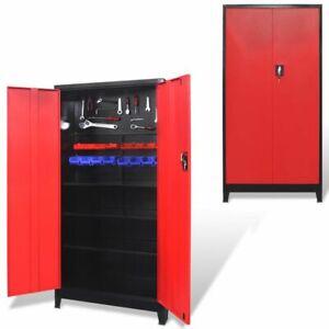 vidaXL Armario Herramientas 2 Puertas Acero Negro/Rojo 90x40x180cm Organizador