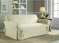 Serta, Relaxed Fit Classic Cotton Slipcover 1 Piece Sofa For Box Style Cushion