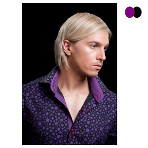 Men's Shady Polka Dots High Collar Long Sleeve Cotton Shirt Slim Fit Size S-3XL