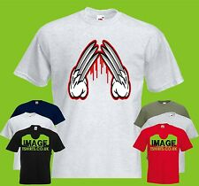 Mashup Hands of Blood Mens PRINTED T-SHIRT Funny Wolverine Mickey Mouse